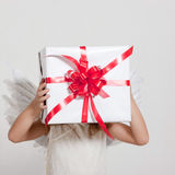Girl with angel wings and set of gifts Stock Photography