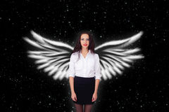 Girl with angel wings stars Stock Photography