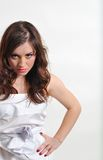 The girl in anger looks frowningly Royalty Free Stock Images