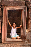 Girl at Angkor Wat Stock Image