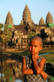 Girl at Angkor Wat Royalty Free Stock Photography