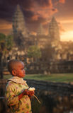 Girl at Angkor Wat. Girl posing for a photo at Angkor Wat, Cambodia Royalty Free Stock Images