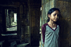 Girl from Angkor Wat. Ta Som Temple Stock Photos