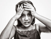 Girl with an angry and desperate look i Stock Image