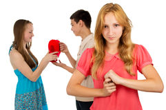 Girl is angry with envy Royalty Free Stock Photos
