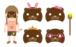 Girl animal wildlife mask costume fancy party set, Bear concept design illustration. Isolated on white background Royalty Free Stock Photography