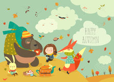 Girl with animals at picnic. In autumn forest. Vector illustration Royalty Free Stock Photography