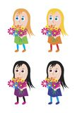 Girl. Animated girl with flowers. Vector format Royalty Free Stock Images