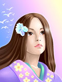 Girl anime. This illustration is depicting the japan girl with big  thoughtful eyes Royalty Free Stock Image
