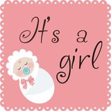 It is a girl. Announcement of the birth of a girl Royalty Free Stock Photo