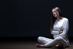 Girl with anorexia nervosa Stock Image