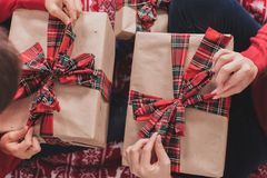 Gifts and presents in hands Stock Photo