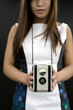 Girl with Antique Camera Stock Photo