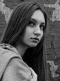 Girl anxiously looking. To the side Royalty Free Stock Image