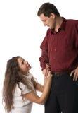 Girl apologizes to the man Stock Photo