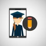 Girl app education online write design Stock Photography