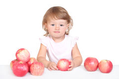 Girl with apple. S, child, baby Royalty Free Stock Image
