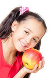 The girl with an apple Royalty Free Stock Photos
