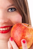 Girl and apple. The beautiful girl with red-yellow apple in her hand Royalty Free Stock Photos