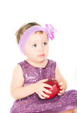 The girl with an apple Stock Image