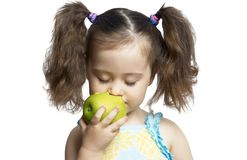 The Girl With An Apple Stock Photography