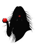 Girl with apple. Vector black silhouette of a girl with red apple in his hand Royalty Free Stock Photos