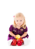 Girl and apple Royalty Free Stock Image