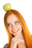 Girl with apple Stock Photo