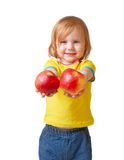 Girl with apple. Isolated on white Stock Photos
