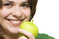 Girl with  apple. Girl with apple close up Stock Photos