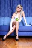Girl with apple Stock Photos
