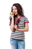 Girl with apple Royalty Free Stock Image