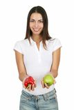 Girl With Apple And Bell Pepper Stock Image