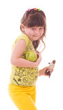 Girl with apple and chocolate Stock Photos
