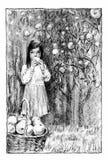 Girl in the apple garden stock photo