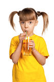 Girl with apple juice Stock Photo