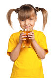Girl with apple juice Royalty Free Stock Images
