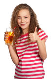 Girl with apple juice Royalty Free Stock Photos