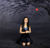 A girl and a apple. Stock Photography