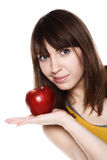 Girl with apple on white Royalty Free Stock Image