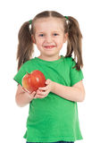 Girl with apple on white Royalty Free Stock Photos