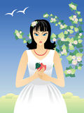 Girl with Apples. Vector  illustration with a girl, an apple, a flower of an apple-tree Stock Images