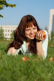 The girl with apples. Stock Photography