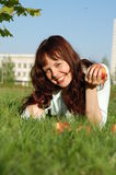 The girl with apples. Royalty Free Stock Photos