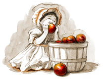 Girl with apples Stock Photos