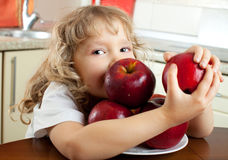Girl with apples Royalty Free Stock Photography