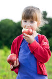 Girl with apples. Little girl eating apples in a meadow. healthy nutrition concept Royalty Free Stock Images