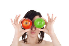 Girl and apples Stock Images