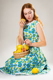 Girl with the apples Royalty Free Stock Image