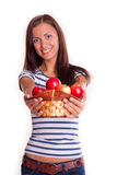 Girl with apples Royalty Free Stock Images